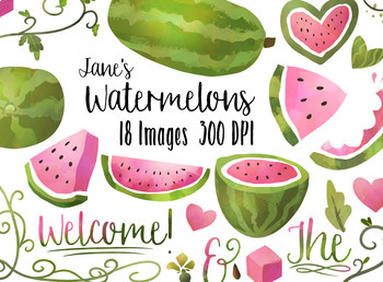 Watercolor . Vines clipart watermelon vine