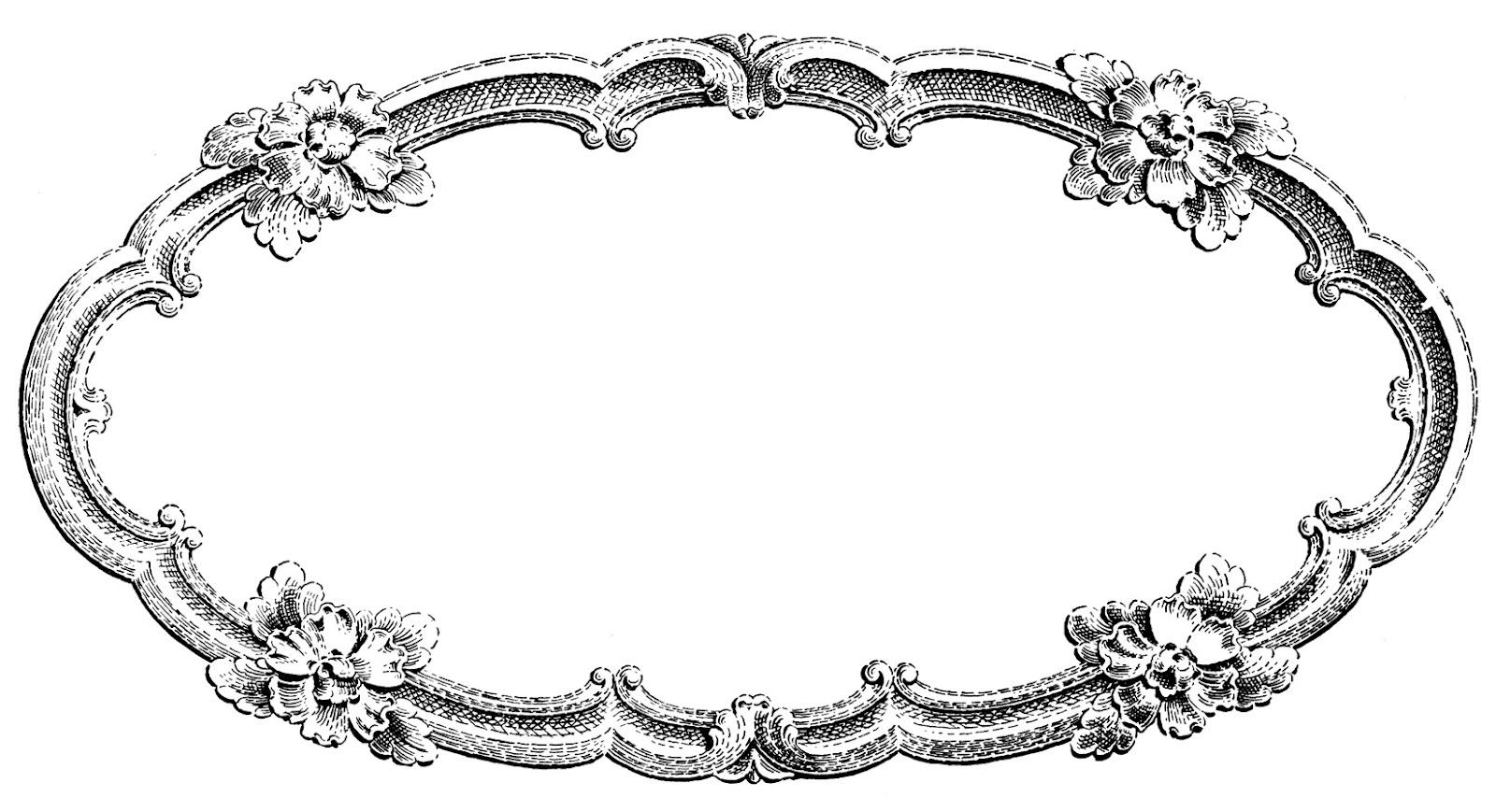 Vintage clipart. Clip art delicate oval