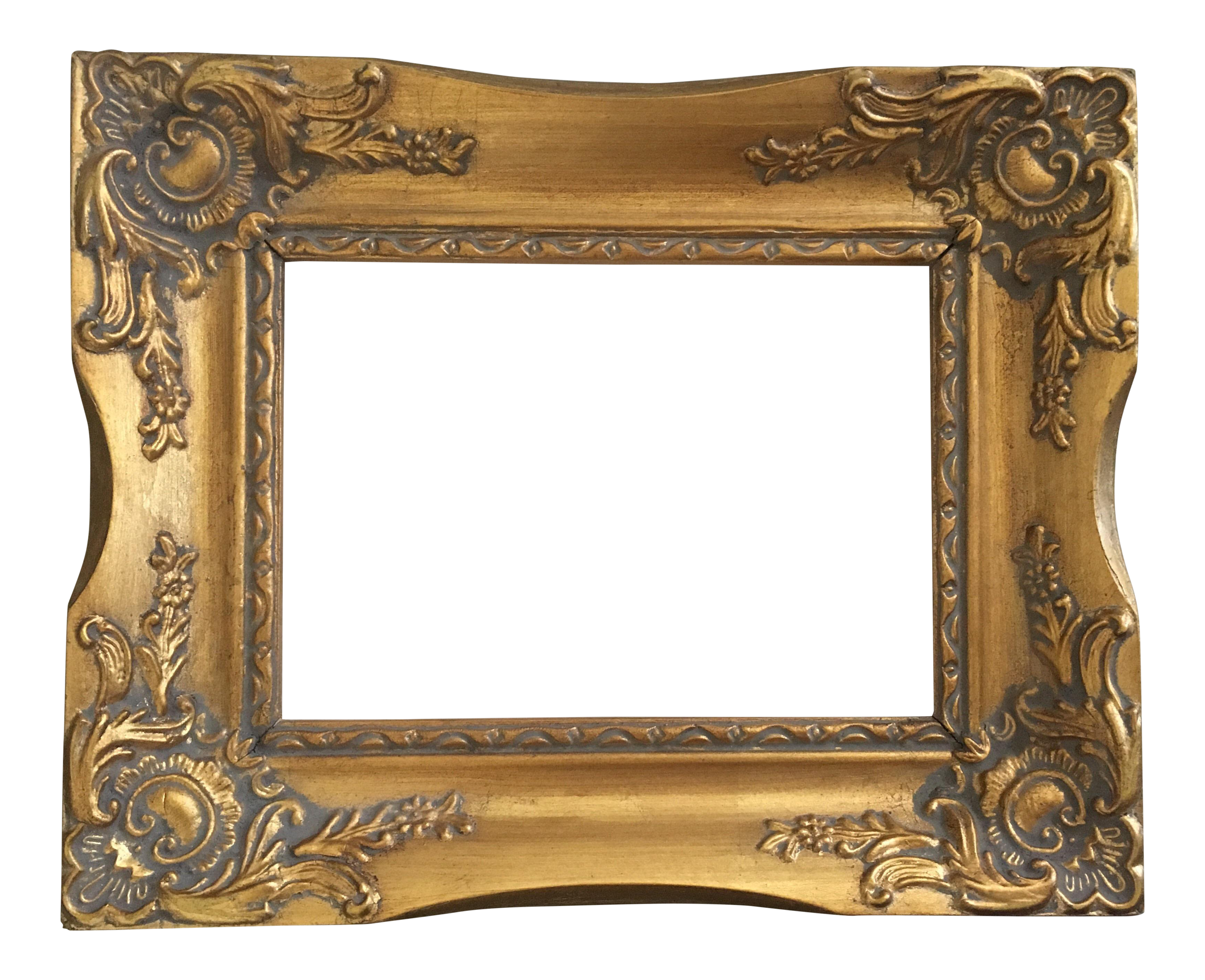 French baroque chairish . Vintage gold frame png