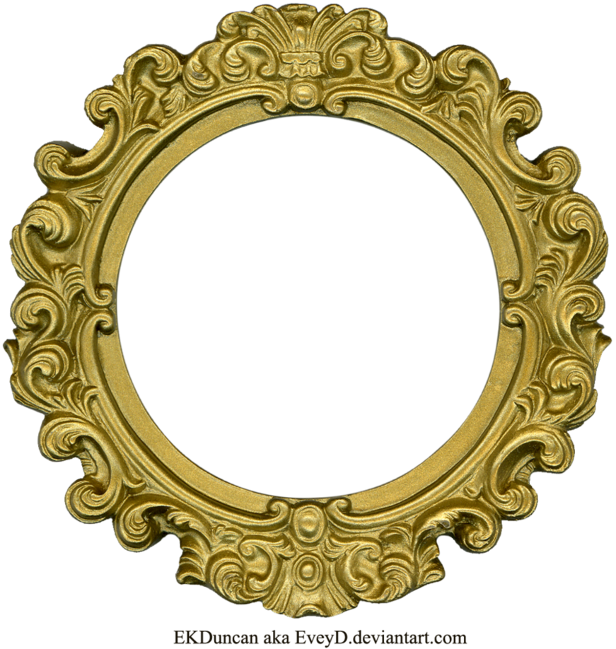 Round by eveyd on. Vintage gold frame png