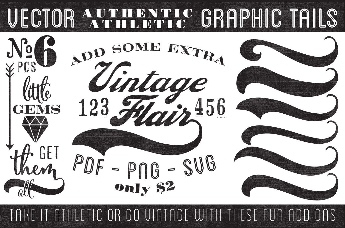Graphic tails by nonna. Vintage vector png