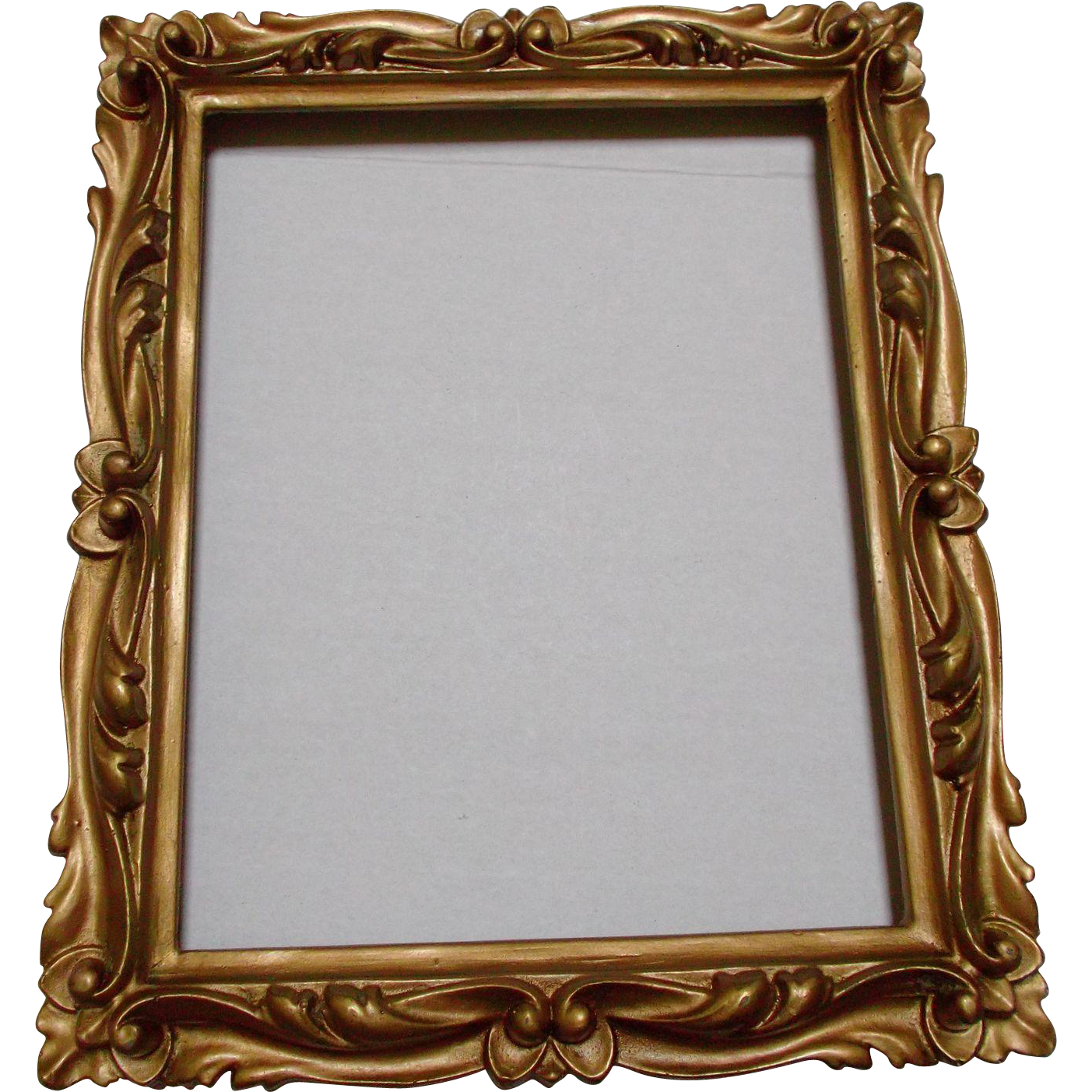 Vintage wood frame png. Carved gold ormolu decorative