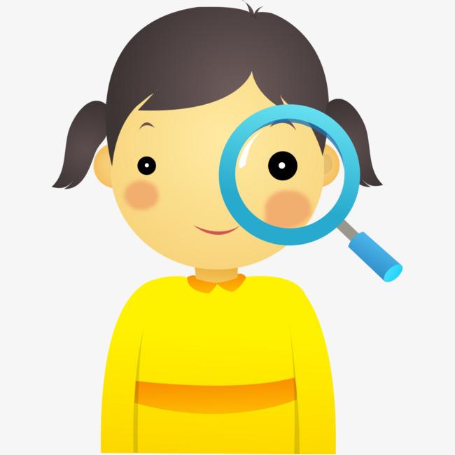 Eye exam little girl. Vision clipart