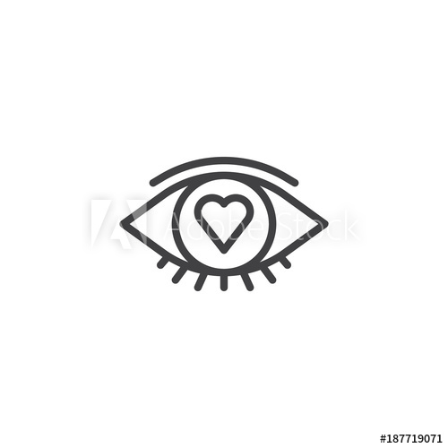 Line icon outline vector. Vision clipart heart eye