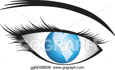 Vector illustration of with. Vision clipart human eye