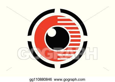 Vector stock eye lens. Vision clipart logo