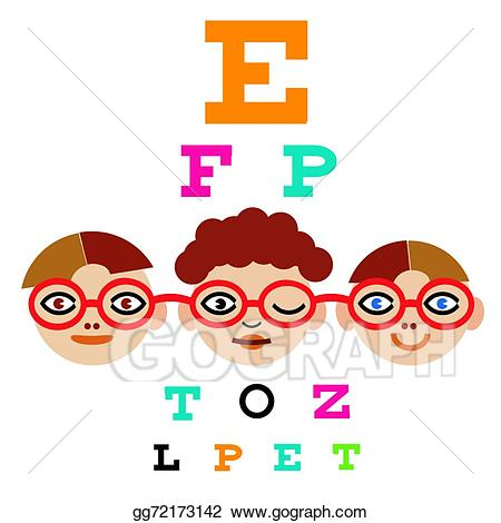Vector art children testing. Vision clipart vision test
