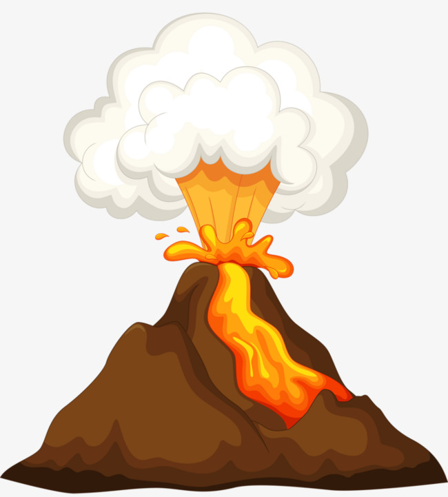 Volcanic eruptions break out. Volcano clipart