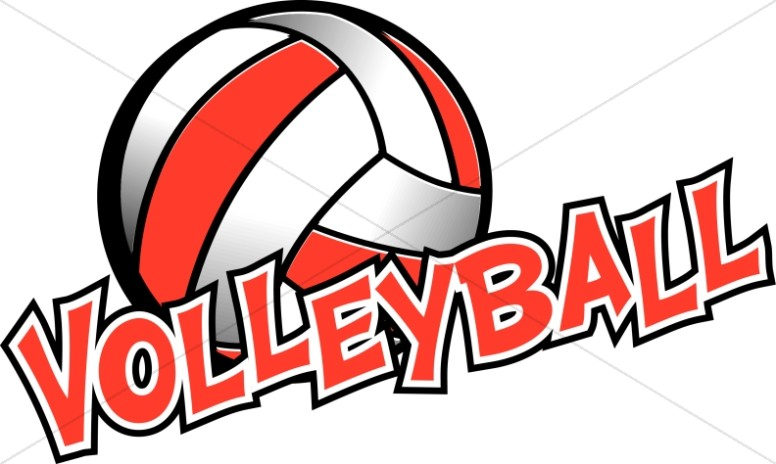 In red and white. Clipart volleyball logo