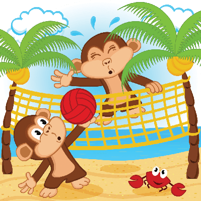 Volleyball clipart beach volleyball. Monkeys playing in pbs