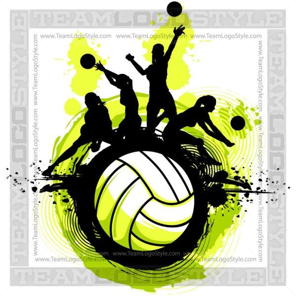 Volleyball clipart design. Vector players