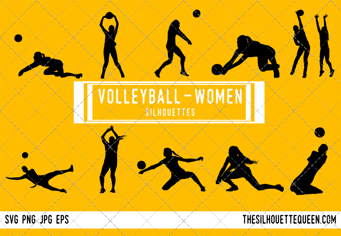 Woman silhouette female svg. Volleyball clipart field