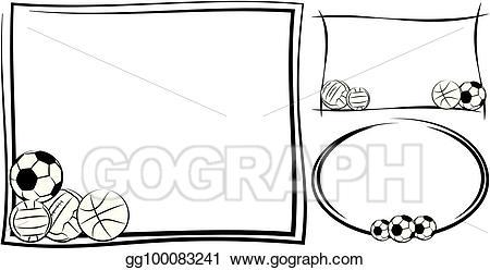 Eps illustration soccer football. Volleyball clipart frame
