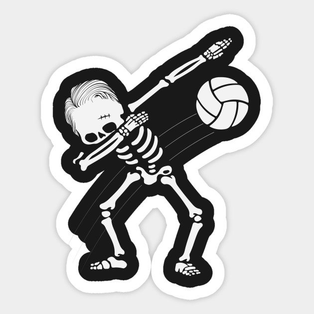 Volleyball clipart halloween. Dabbing skeleton gift