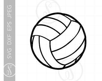 Volleyball clipart line art. Etsy