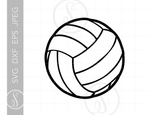 Volleyball clipart line. Svg silhouette cut file