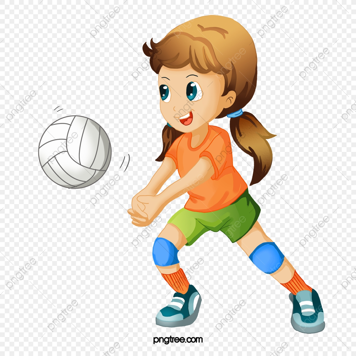 Hand painted cartoon playing. Volleyball clipart server
