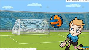 A boy playing and. Volleyball clipart stadium