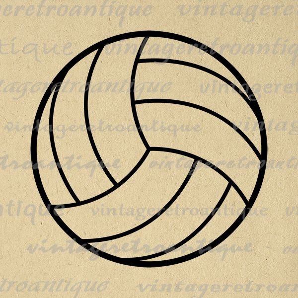 Volleyball clipart vintage. Graphic image printable download
