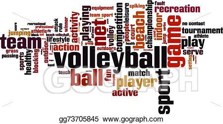 Volleyball clipart word. Vector art cloud eps