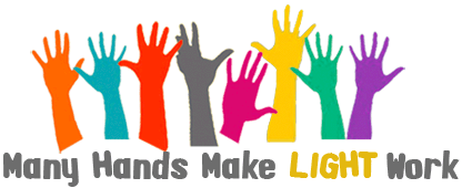 Many hands make light. Volunteering clipart
