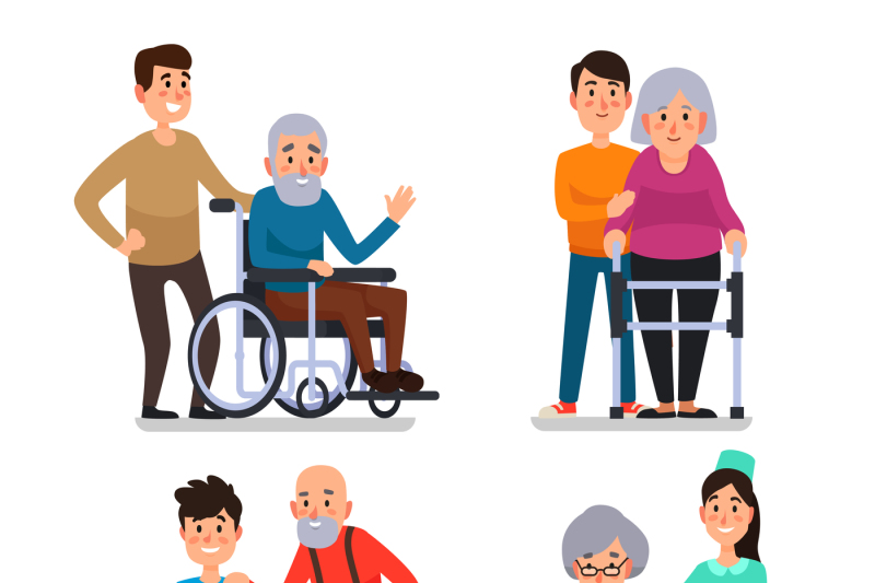 Help old disabled people. Volunteering clipart social work