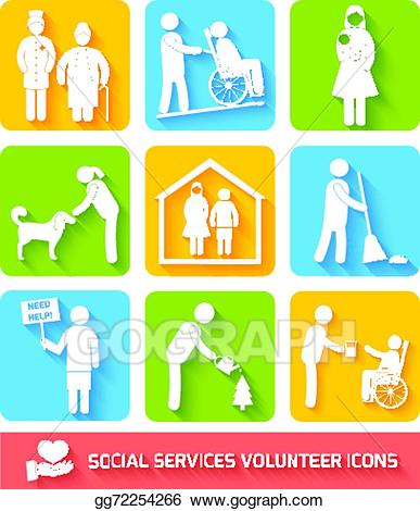 Vector stock services icons. Volunteering clipart social work