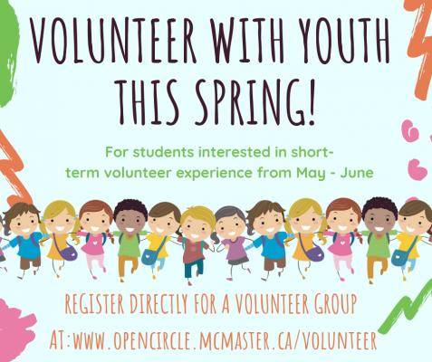 Volunteers needed degroote school. Volunteering clipart spring