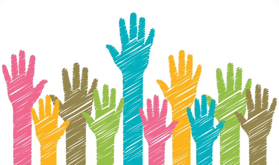 Volunteering clipart volunteer hand. Grass background illustration charity