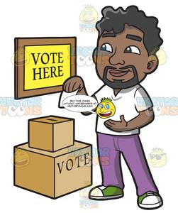 A dropping his ballot. Voting clipart black man