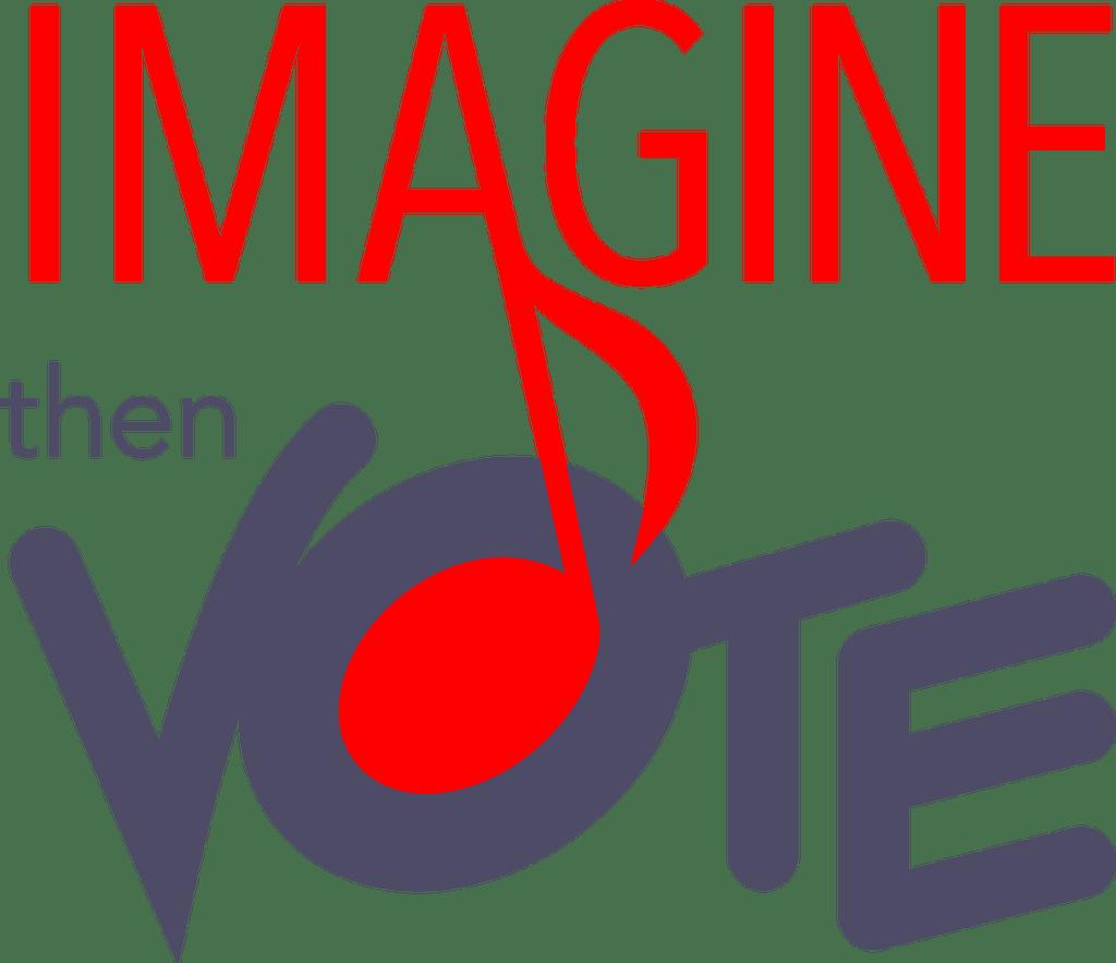 Voting clipart election logo. Imagine then vote you