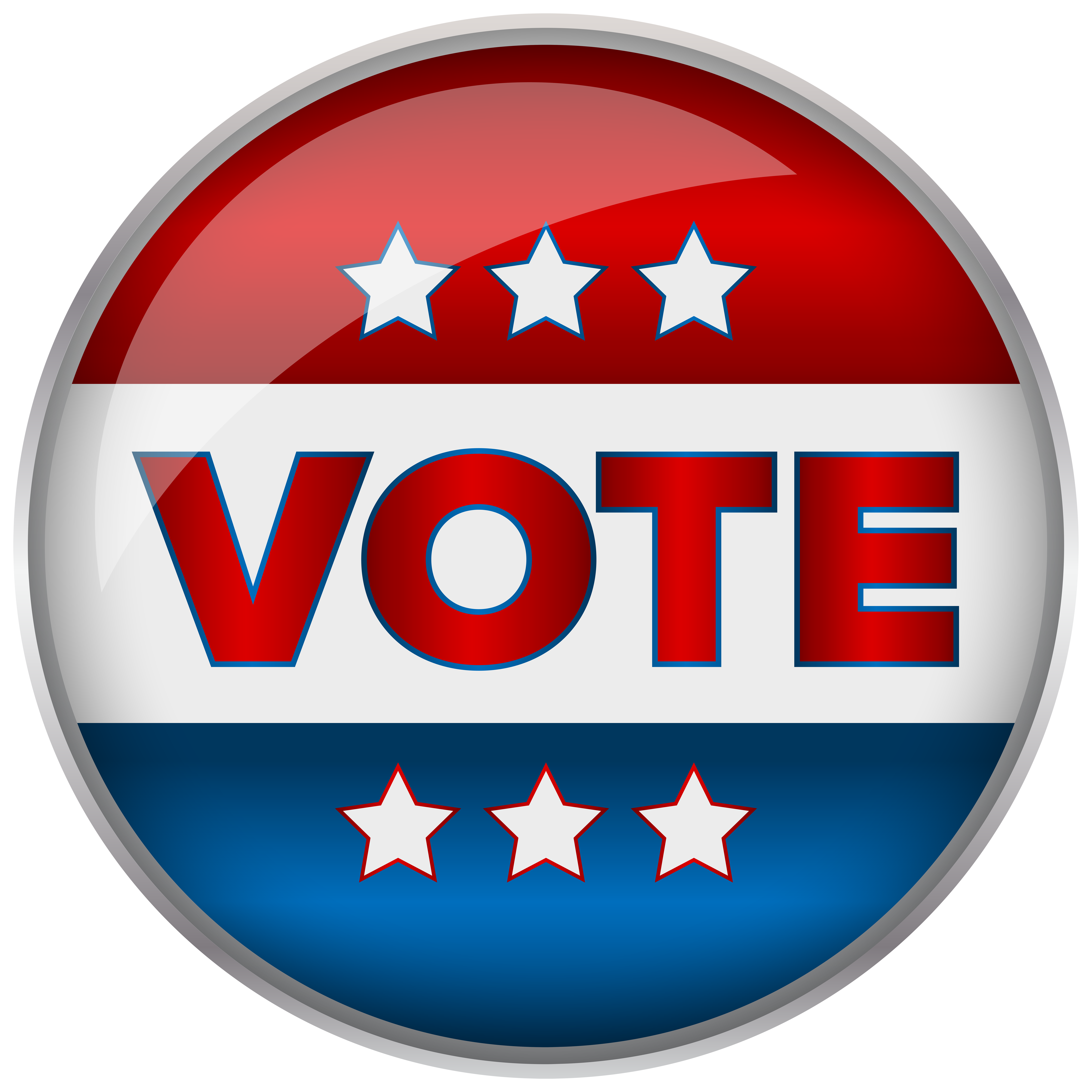 Voting clipart icon. Red blue badge vote