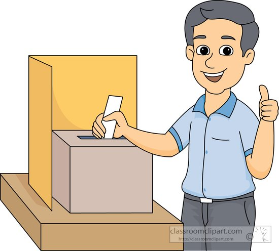 Voting clipart person. Man placing ballot in