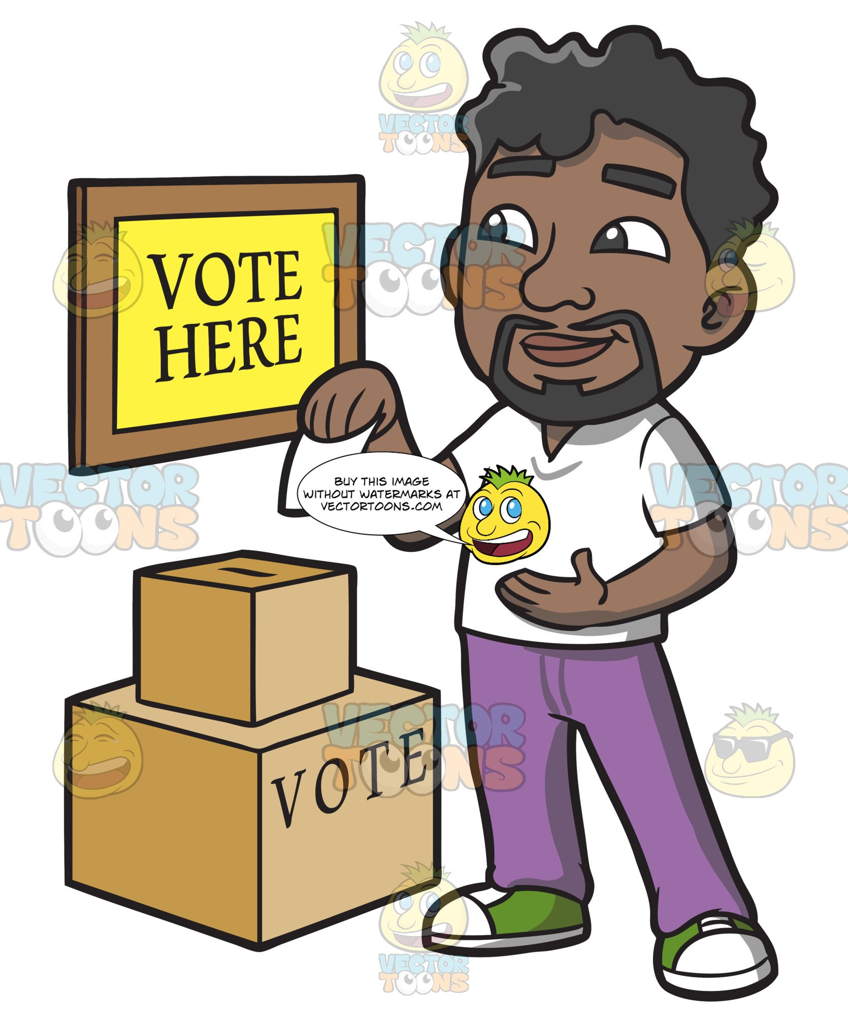 A black man dropping. Voting clipart person