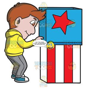 A man casting his. Voting clipart polling booth