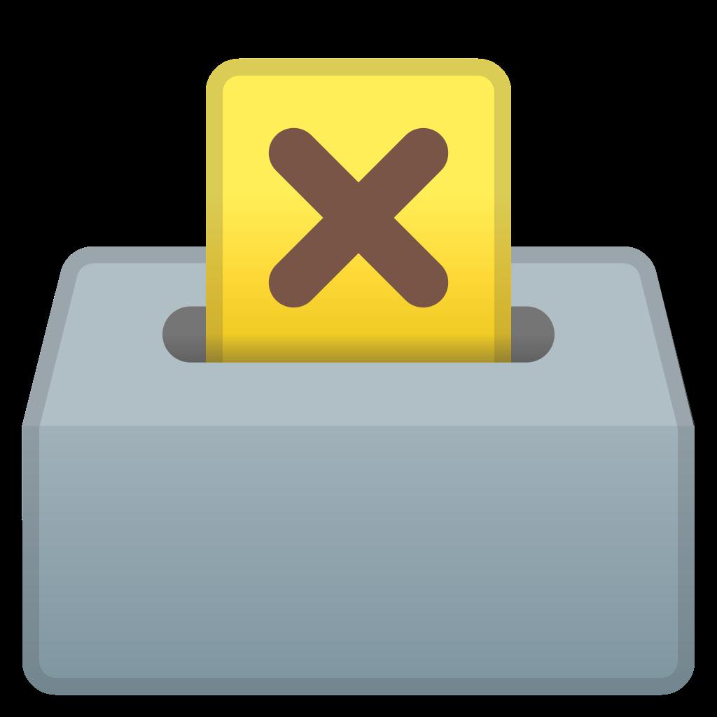 Ballot with icon noto. Voting clipart raffle box