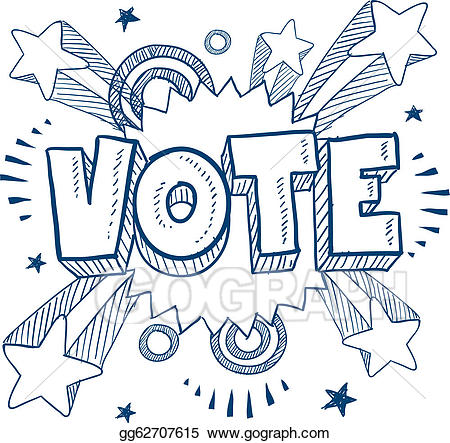 Vector illustration excited about. Voting clipart sketch