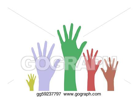 Drawing raise hands volunteering. Voting clipart volunteer