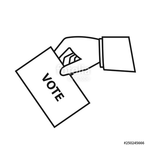Hand holding ballot outline. Voting clipart voting paper