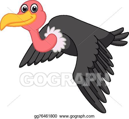 Vector cartoon flying illustration. Vulture clipart