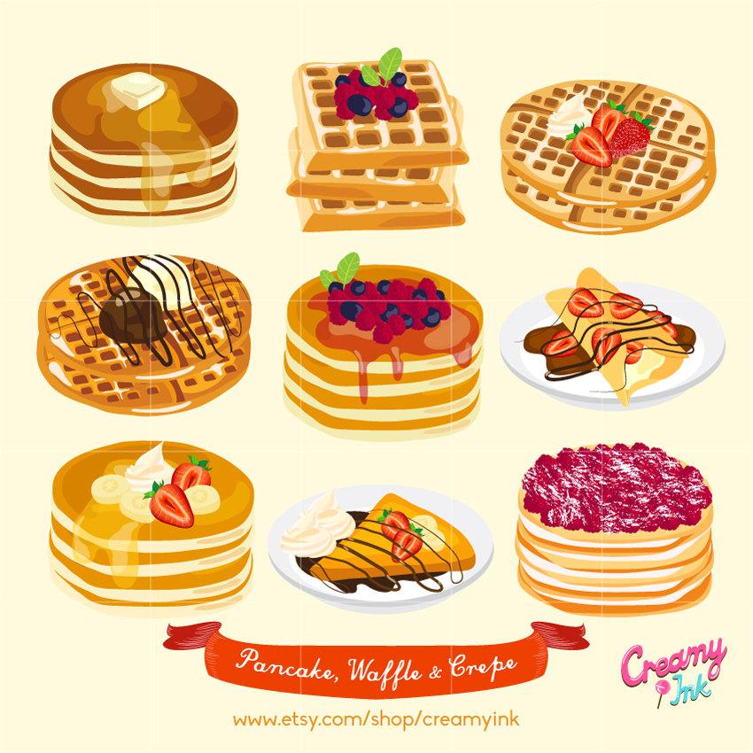 Pancake digital vector clip. Waffle clipart
