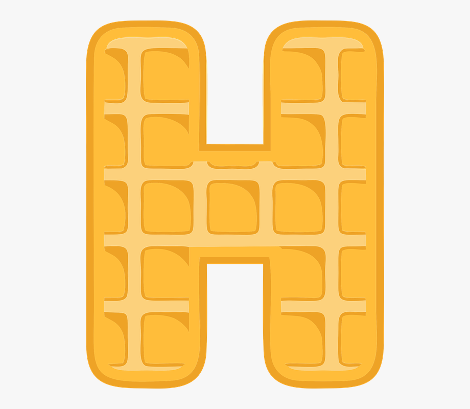H alphabet letter typography. Waffle clipart border