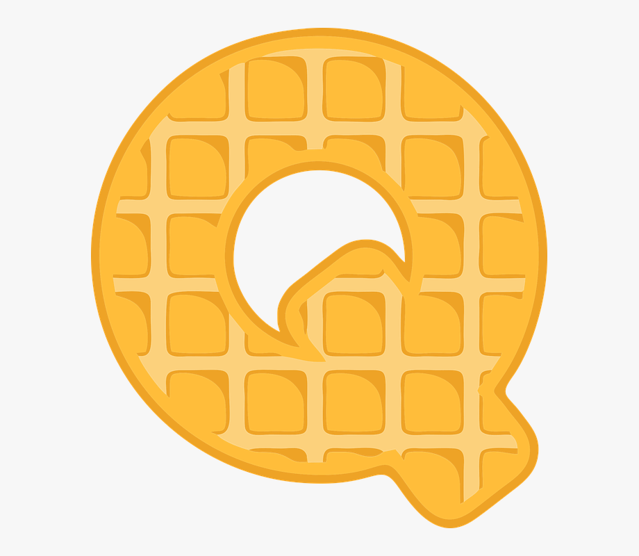 Q alphabet letter typography. Waffle clipart border