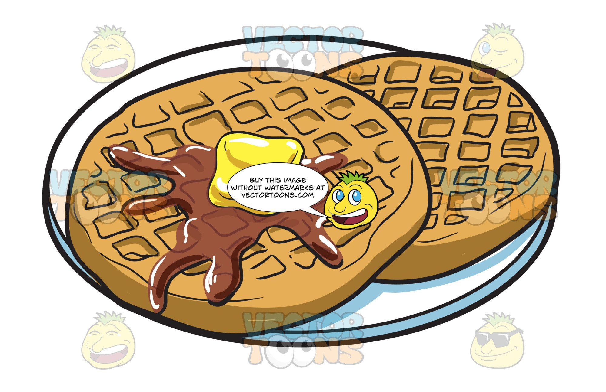 Waffles for breakfast . Waffle clipart butter