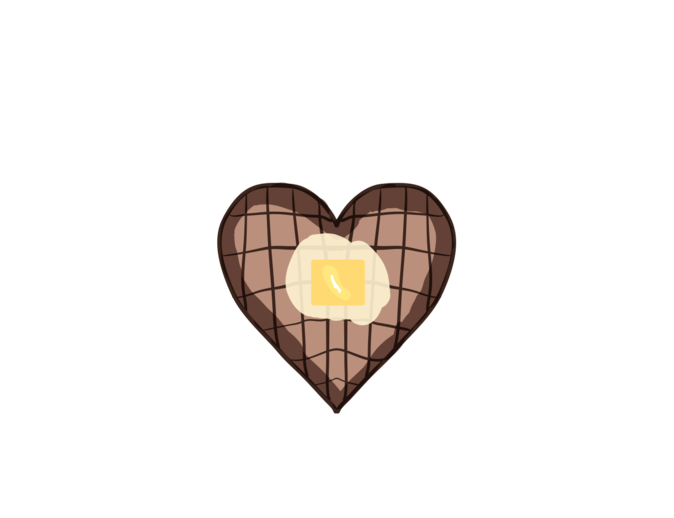 Mysoti eric heart tees. Waffle clipart butter