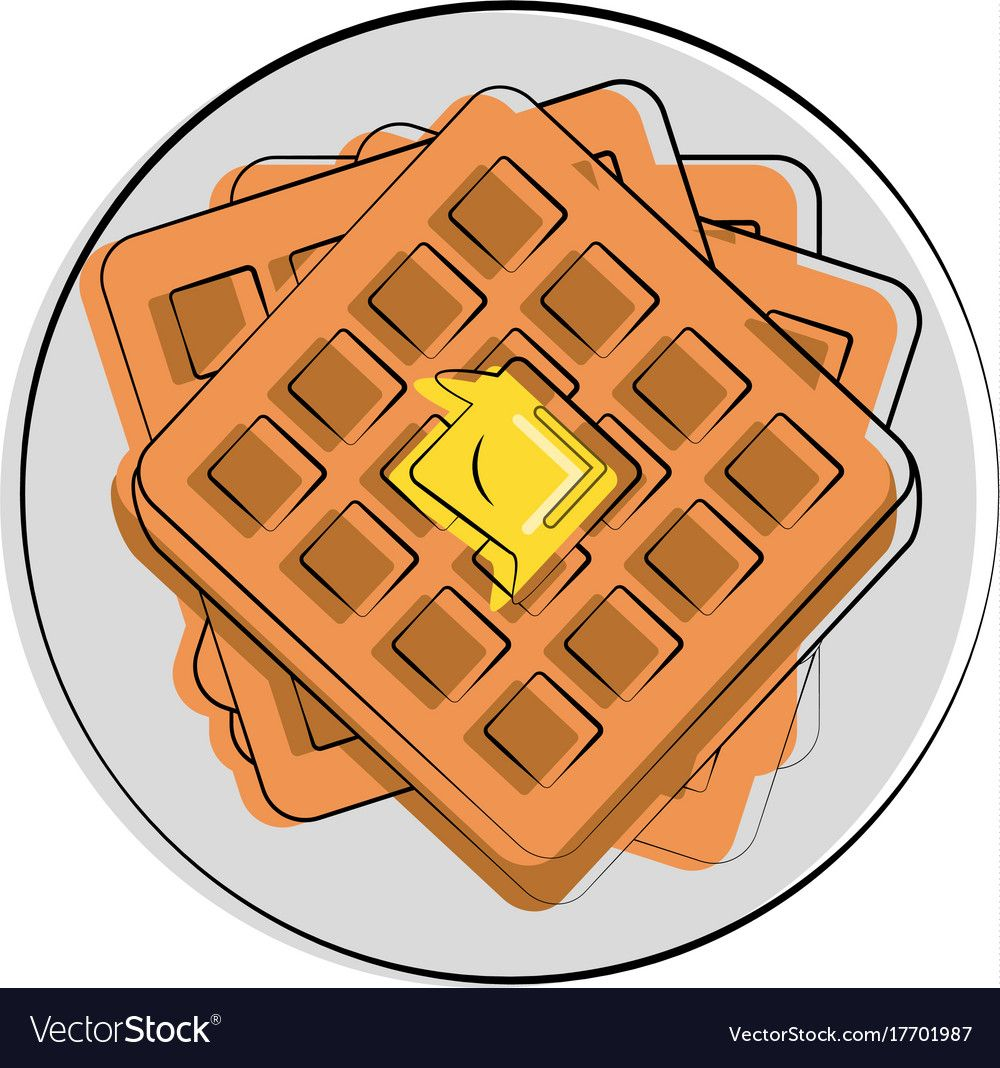 With melting on it. Waffle clipart butter