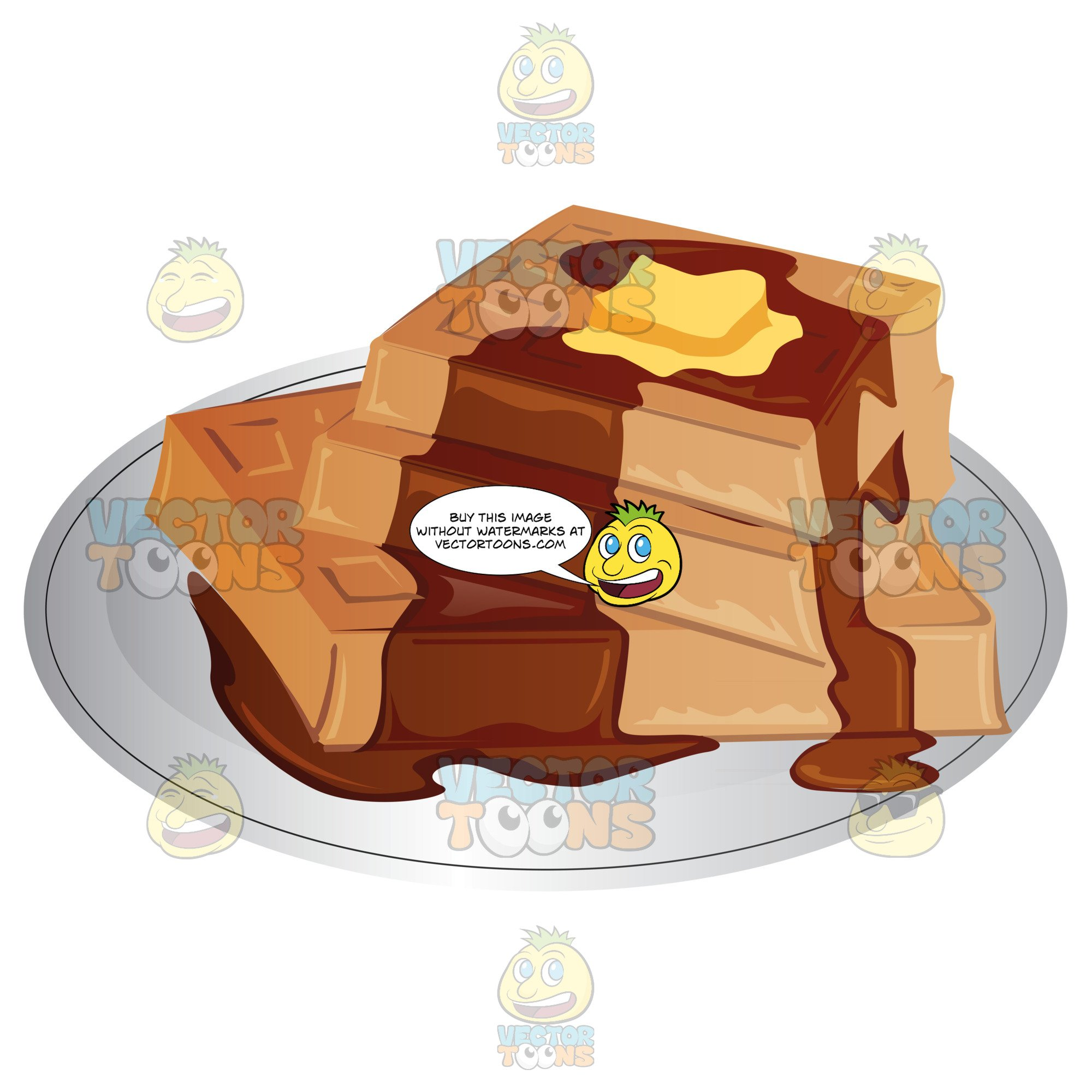 Waffle clipart butter. Stack of waffles with