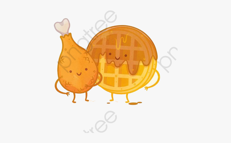 Waffle clipart chicken waffle. Cartoon hand painted and