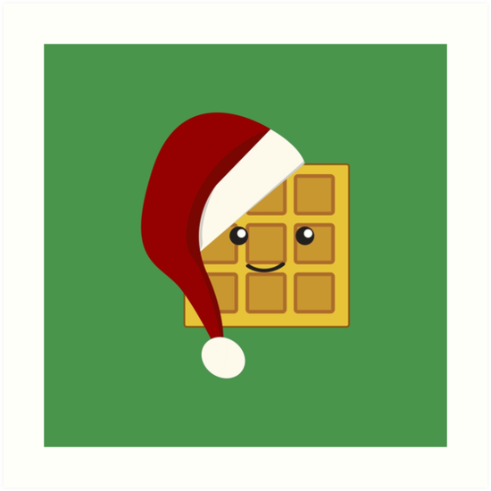 Waffle clipart christmas.  art print by