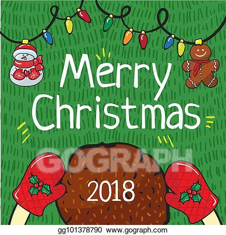 Vector art merry card. Waffle clipart christmas